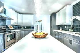 white and gray quartz countertops small kitchen