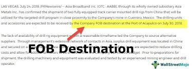fob destination meaning exles