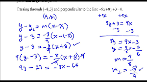 write the equation of the line that p through the point and perpendicular to the line