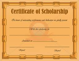 Scholarship Certificate Template For Word Gold Doc File Editable Scholarship Certificate Template Word
