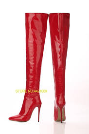 black red patent leather shiny women knee high boots shoes slip on runway fashion autumn boots 2018 las wedding dress army boots p toe booties from