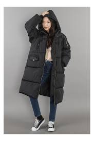 black hooded long puffers coats for women loading zoom