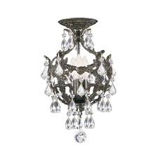 crystorama lighting group legacy english bronze three light semi flush mount with clear crystal