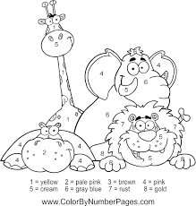 Small Picture zoo animals color by number page Fun Kid Printables Pinterest
