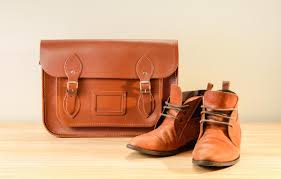 brown leather shoes with leather bag