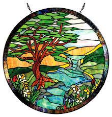 tiffany landscape round stained glass window panel paul sahlin tiffany 1305r