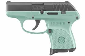 ruger lcp 380acp centerfire pistol with turquoise cerakote grip frame