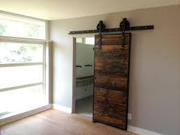 image of simple sliding barn door for bathroom