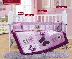 baby sheet sets 7pcs embroidery purple crib bed linen baby bedding set baby cot set