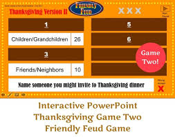 Thanksgiving Friendly Feud Game Two Interactive Powerpoint Etsy