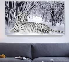 office canvas art. 2018 White Tiger Winter Landscape Giclee Print Canvas Wall Art For Home Decor Perfect 4 Panels Decorations Living Room Bedroom Office From R