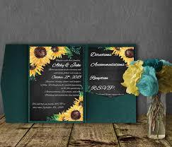 Foldable Invitation Template Sunflower Wedding Invitation Template Pocketfold Invitation Suite