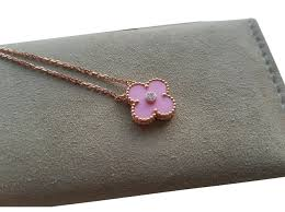 van cleef arpels limited edition 2016 holiday alhambra necklaces ceramic pink gold pink ref