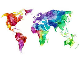 Rainbow Watercolor World Map With White Background Art Print