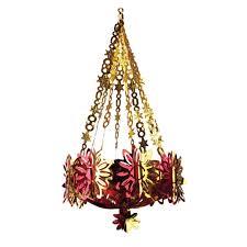 red gold foil chandelier 91cm