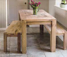 rustic kitchen table with benches that can slide underneath