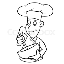 hand drawn sketch of chef isolated black and white cartoon vector ilration for coloring book line drawn vector stock vector colourbox