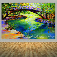hand painted bridge river landscape oil painting on canvas palette knife art landscape wall pictures for