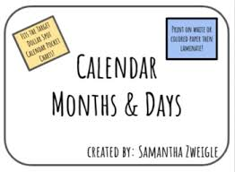 Pocket Chart Calendar Inserts Calendar Pocket Chart Inserts By Zweigle Craft Corner Tpt