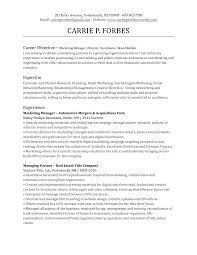 Entry Level Marketing Resume Objective For Free Career Objective