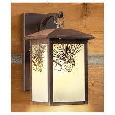 castlecreek rustic outdoor wall lantern pinecone
