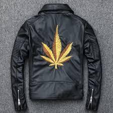 2018 black men diagonal zipper genuine biker s leather jacket embroidery design plus archive org