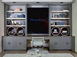 home office built ins. Gray Cabinets, Shelves And Built-in Desk Home Office Built Ins