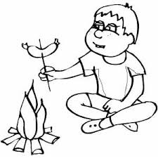 Small Picture Boy Preparing Sausage On Campfire Coloring Page