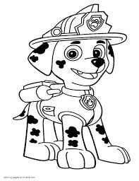 Small Picture Paw Patrol Coloring Pages For Kids Puppy Marshall With Coloring