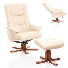 the shanghai bonded leather recliner swivel chair matching footstool in cream co uk kitchen home