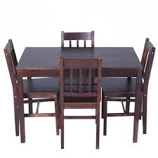 5pcs solid pine wood dining set table and 4 chairs home kitchen table chair sets