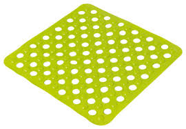 non skid square shower mat with holes 20 x20 solid green