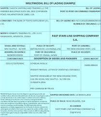 Example Of Bill Of Lading Document Multimodal Bill Of Lading Letterofcredit Biz Lc L C