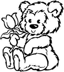 Small Picture Picture of Fluffy Teddy Bear Hold a Rose Coloring Page Color Luna