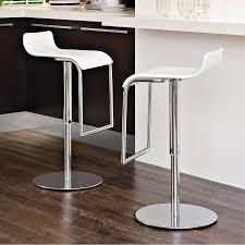 image of double modern white bar stools