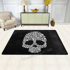 beautiful fl sugar skulls day of the dead decorations area rug pad nonslip kitchen floor