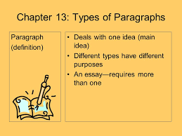 chapter types of paragraphs paragraph definition deals  1 chapter 13 types of paragraphs paragraph definition deals one idea main idea different types have different purposes an essay requires more than