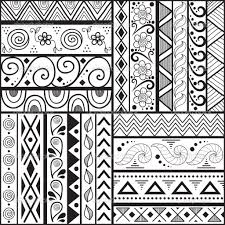 Tribal striped hand drawn seamless pattern.  Stock Vector .