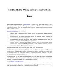 Example Of Well Written Synthesis Essay Examples Writing For