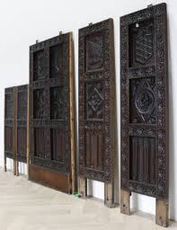 antique english carved oak wall