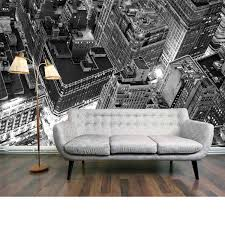 New York Skyline Wallpaper For Bedroom Penthouse View Mural An Enhanced Black And White Photo Image Of
