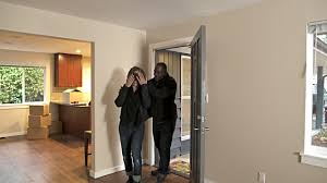 walking through front door. Couple Walking Through Front Door Of New Home, Woman Blindfolded And Surprised. T