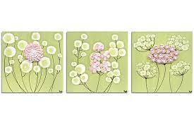 nursery art spring flowers set of three