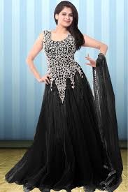 Designer Gown In Black Colour Net Party Wear Gown In Black Colour