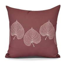 maroon decorative pillows.  Decorative Leaf Print 2 Floral Decorative Pillow On Maroon Pillows D