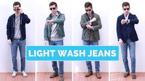 What To Wear With Light Blue Jeans Men 4 Ways To Wear Light Wash Jeans Mens Outfit Ideas