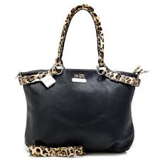 Coach Madison Leopard Large Black Satchels ACJ