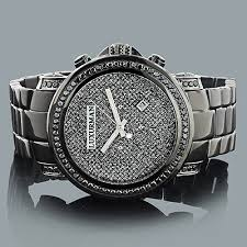 mens black diamond watch 3ct luxurman oversized watches cases mens black diamond watch 3ct luxurman oversized watches