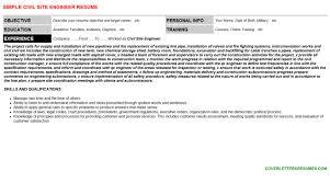 Civil Site Engineer Cv Cover Letter Resume Template 71709