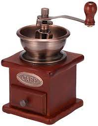 As you rotate the crank, the burrs mill the coffee beans and the result is ground coffee of your favorite coarseness. Amazon Com Manual Coffee Grinder Ddsky Manual Coffee Bean Grinder Vintage Antique Wooden Hand Grinder Coffee Mill Coffee Grinder Roller Kitchen Dining